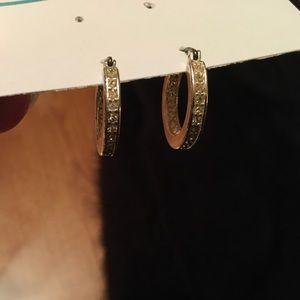 Silver Latch Back Hoop Earrings with Rhinestones